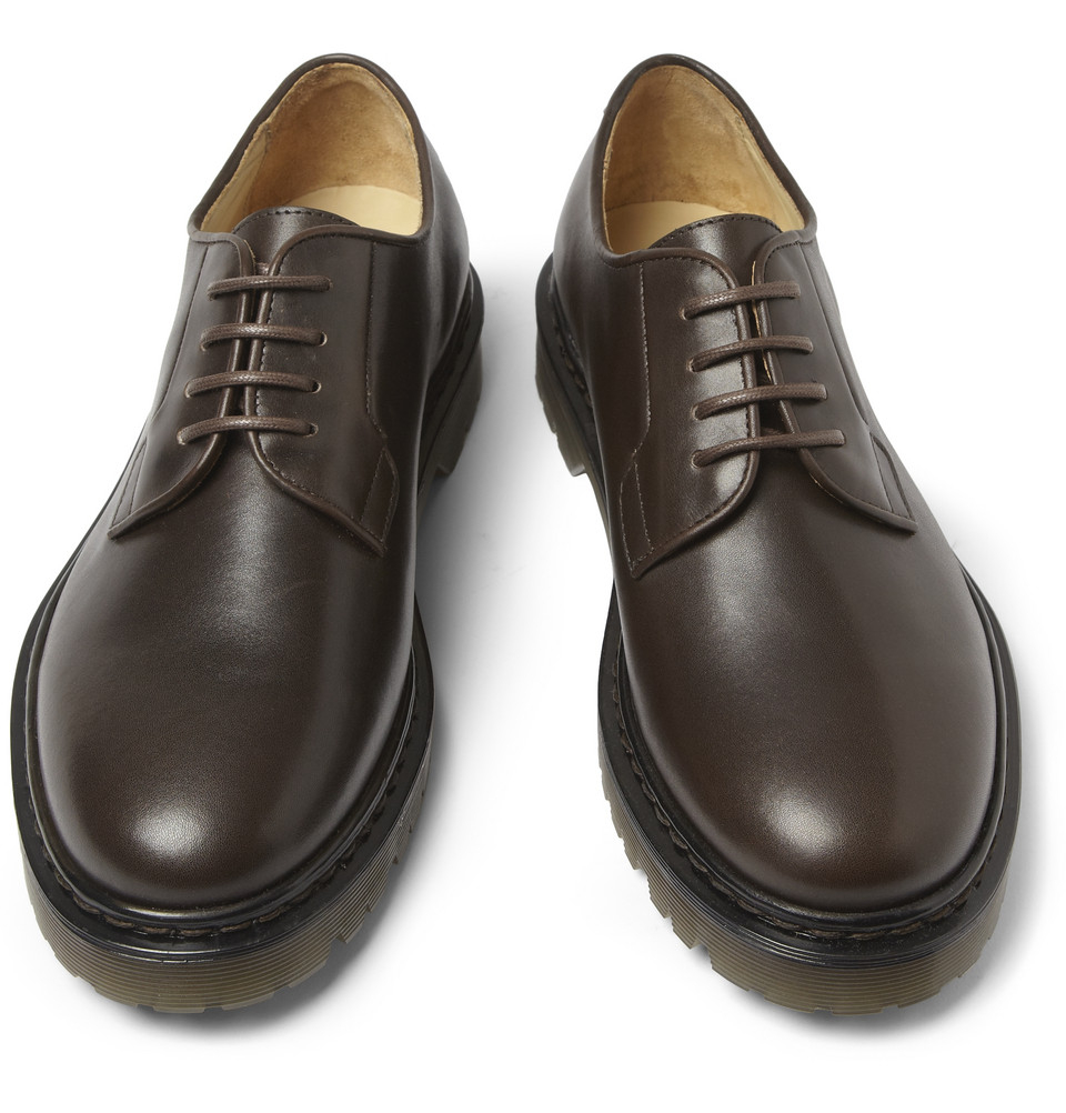 Lyst A P C Rubbersoled Leather Derby Shoes In Brown For Men