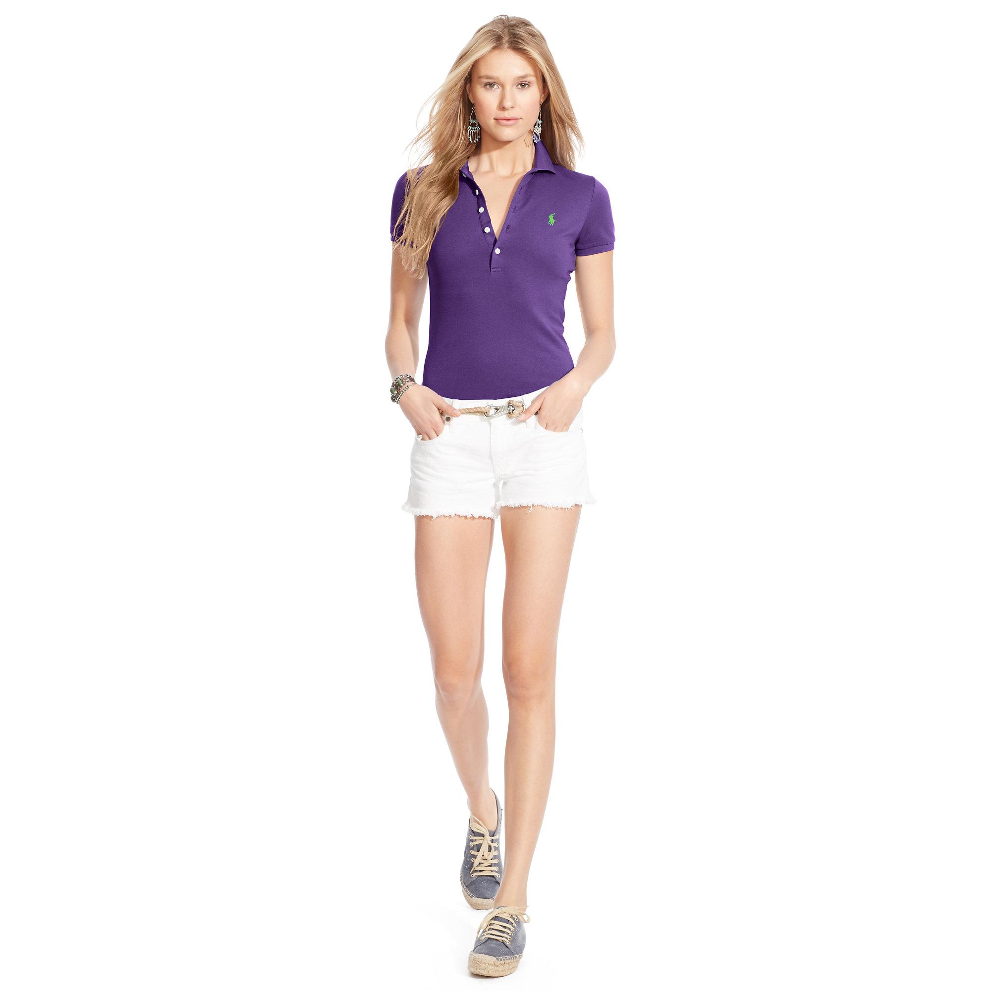 Lyst Polo Ralph Lauren Skinny Stretch Polo Shirt In Purple