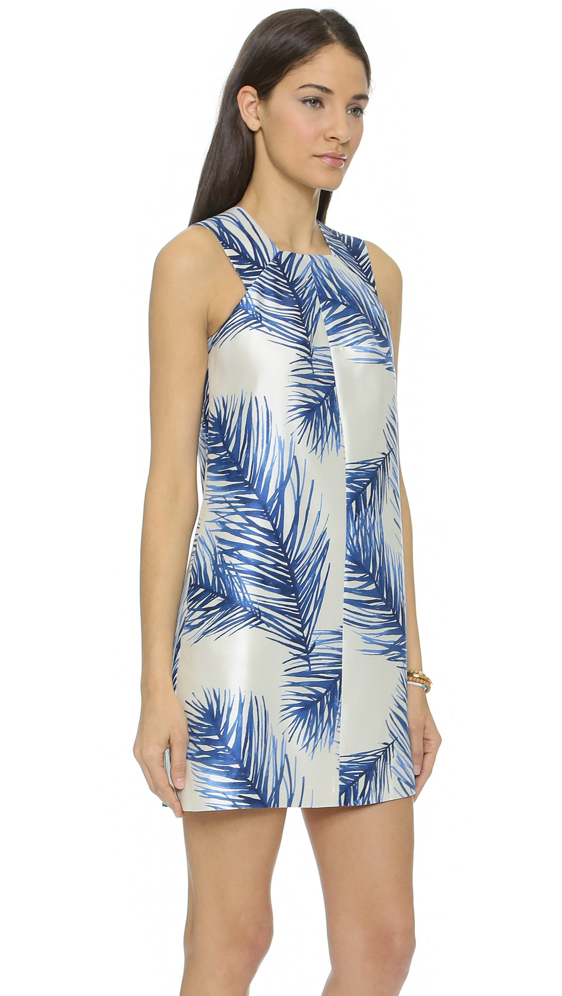 Tory Burch Silk Square Neck Dress Baltic Sea Feathers In
