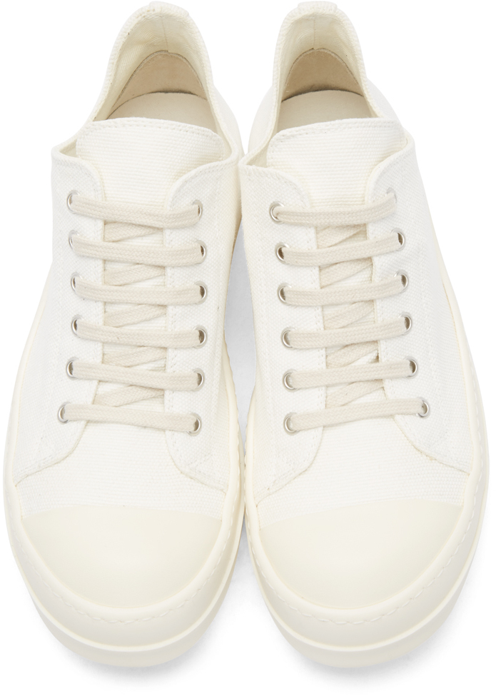 Rick Owens Drkshdw White Canvas Low Sneakers TYsgZYtho