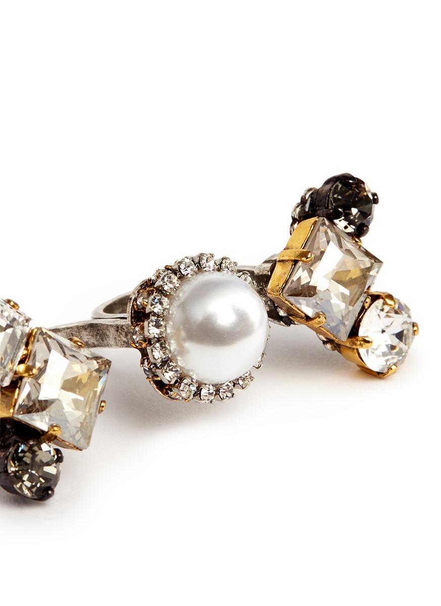 Erickson Beamon 'hunger' Swarovski Crystal Glass Pearl Two Finger Ring in Black