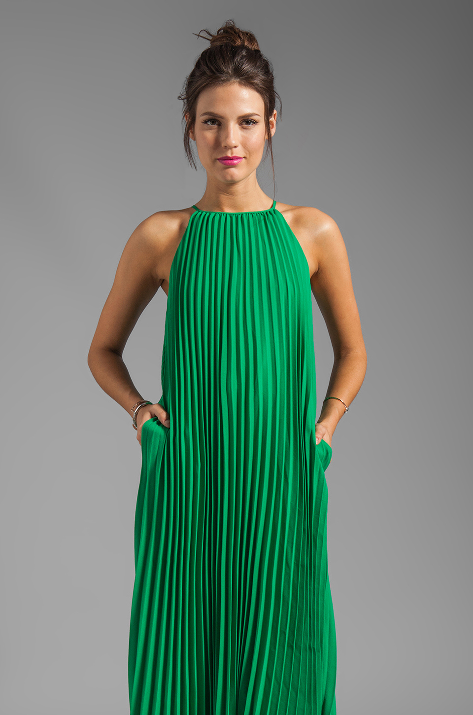 Line &amp- dot Pleated Maxi Dress in Green - Lyst