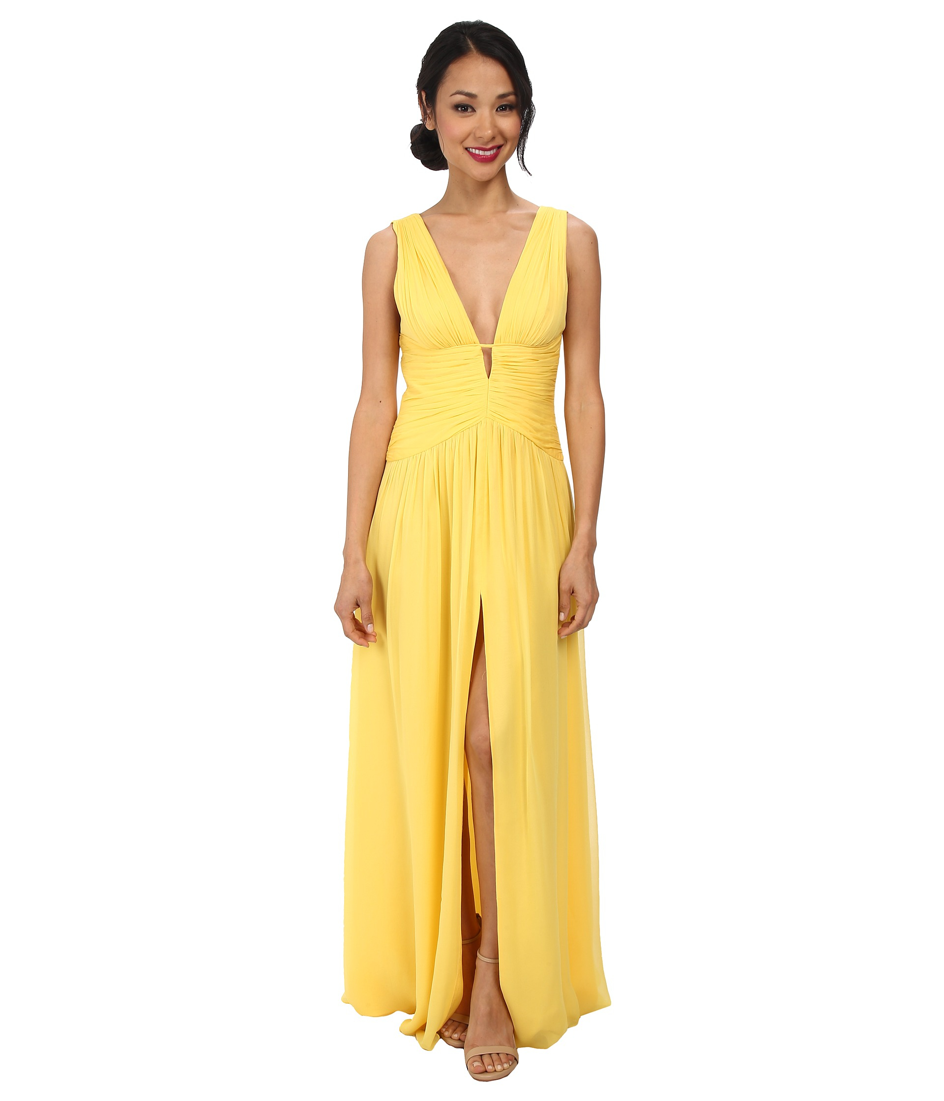 Yellow deep v-neck dress