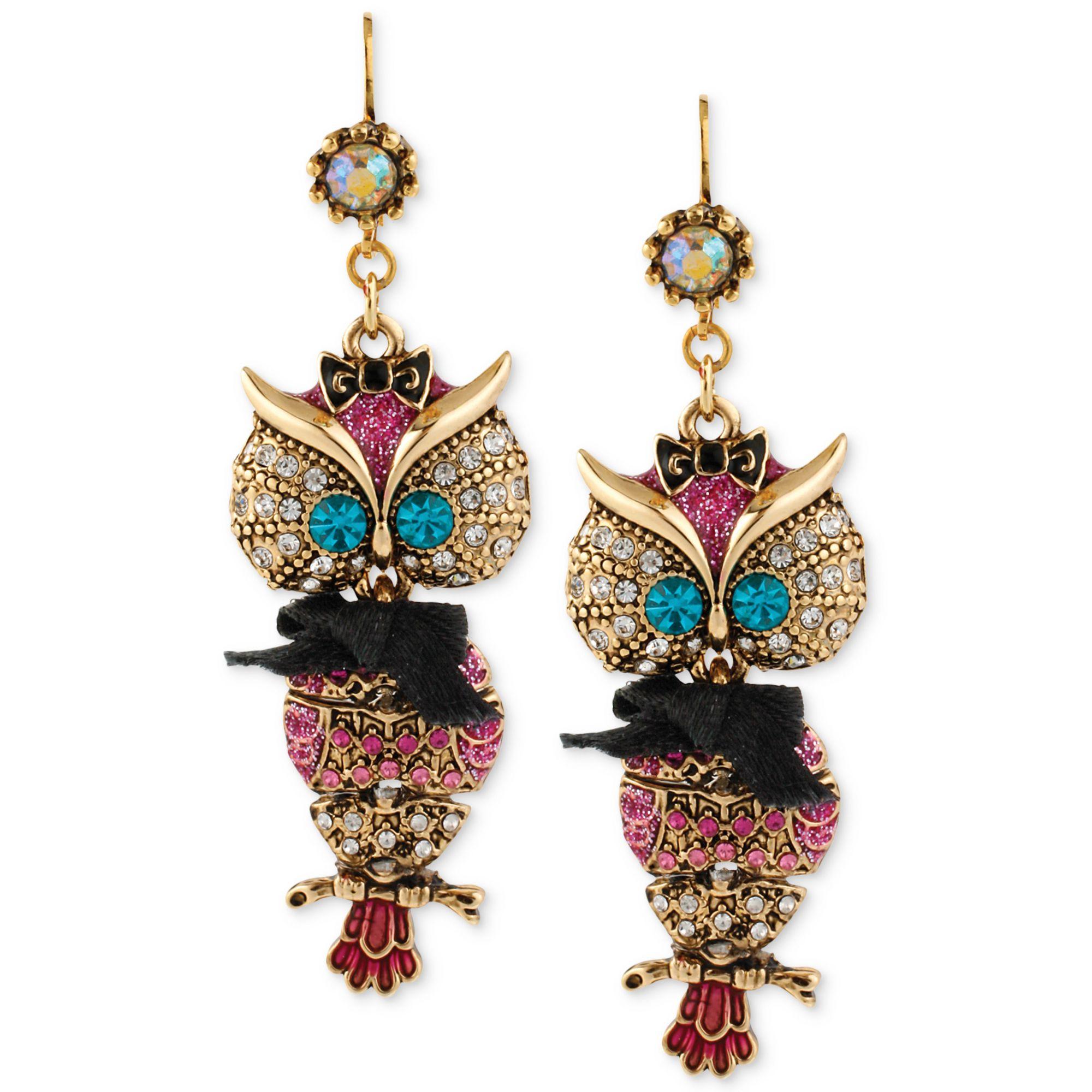 6667e9c32d0db Betsey Johnson Metallic Antique Goldtone Owl Drop Earrings