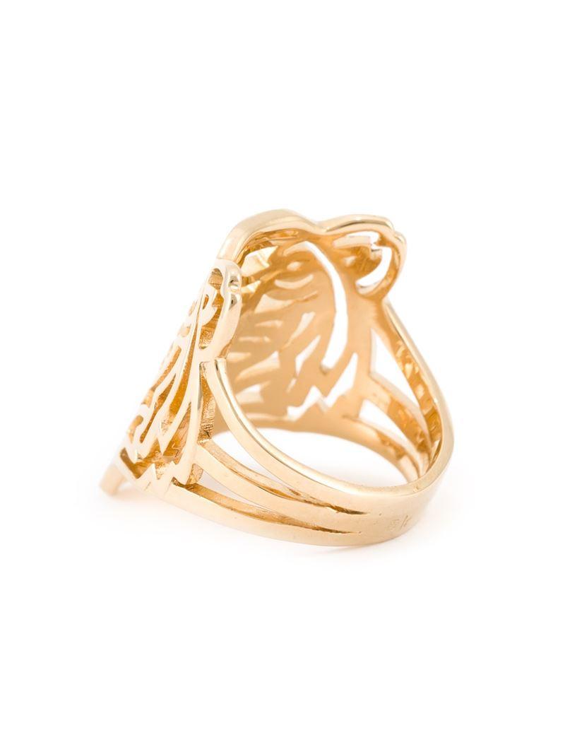 kenzo tiger ring in gold metallic lyst