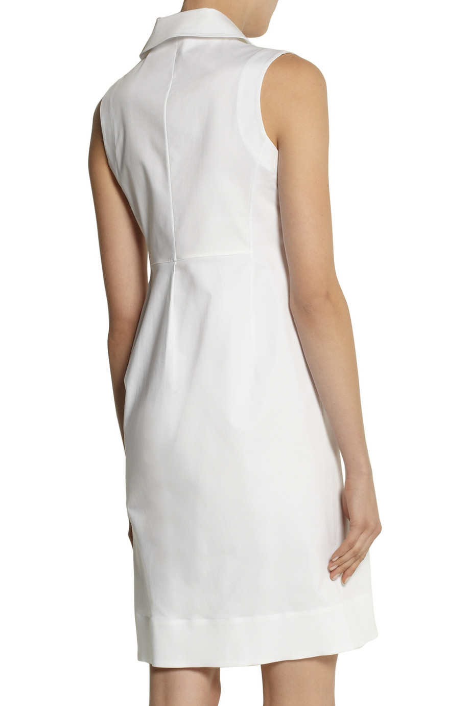 Jil sander stretch cotton shirt dress in white lyst for How to stretch a dress shirt