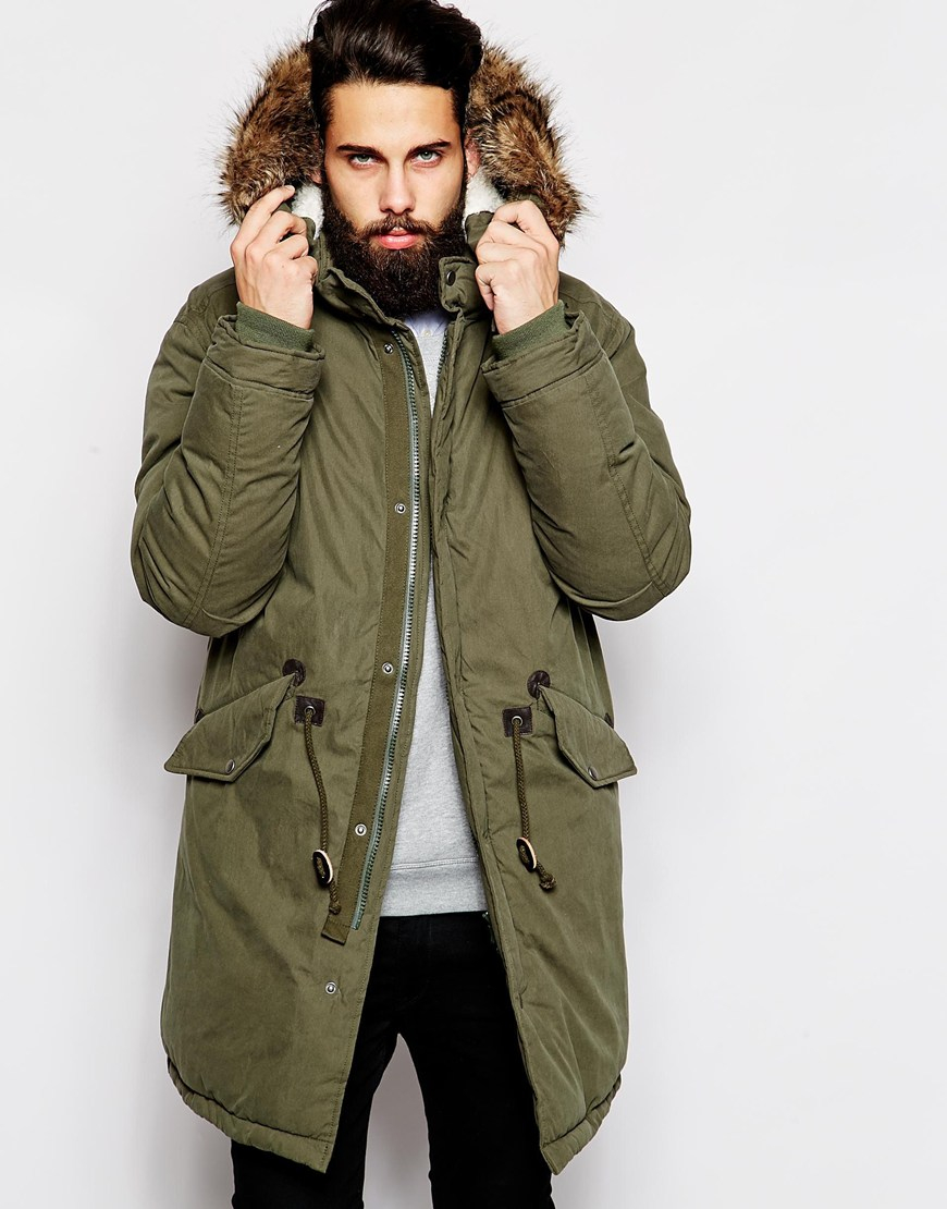Mens Green Fishtail Parka