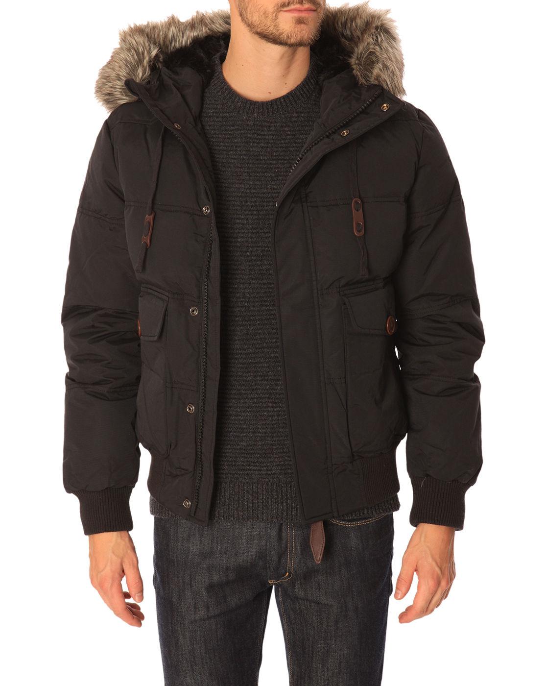 schott nyc thunder hooded bomber jacket with detachable fur trim in black for men lyst. Black Bedroom Furniture Sets. Home Design Ideas