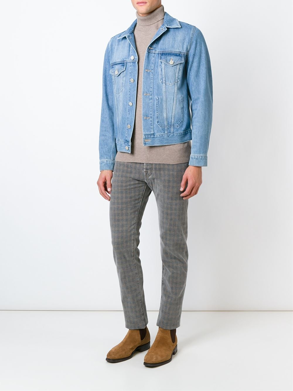 Jacob Cohen Cotton Check Print Trousers in Grey (Grey) for Men