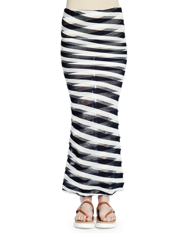 stella mccartney transparent striped maxi skirt in