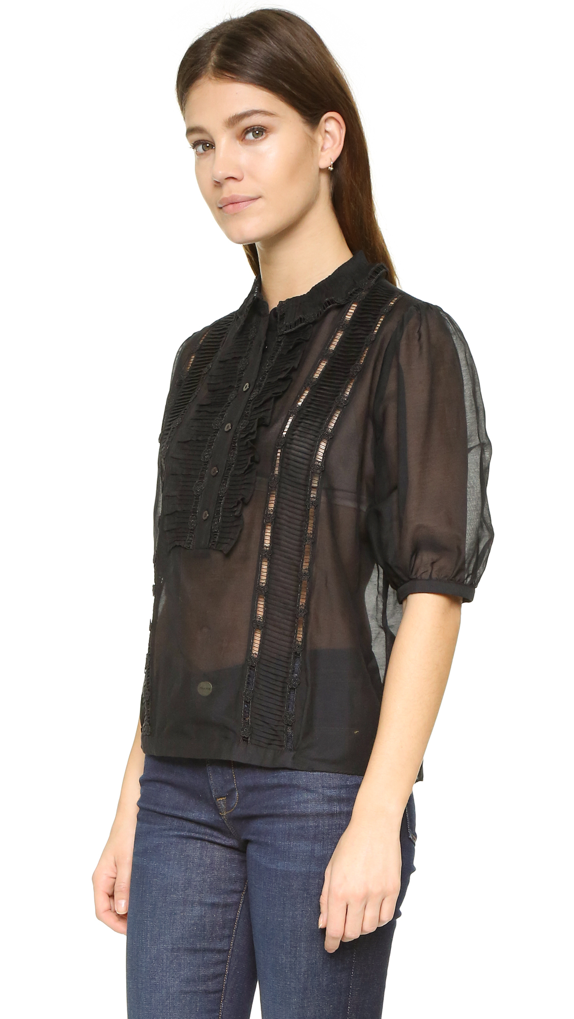 The Kooples Lace Detailed Top In Black Lyst
