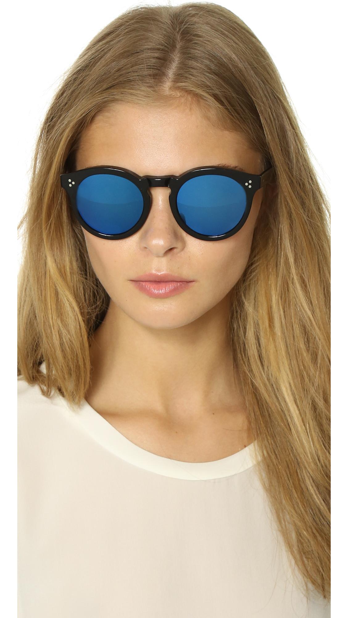 d486a33613 Lyst - Illesteva Leonard Ii Mirrored Sunglasses - Black blue in Blue