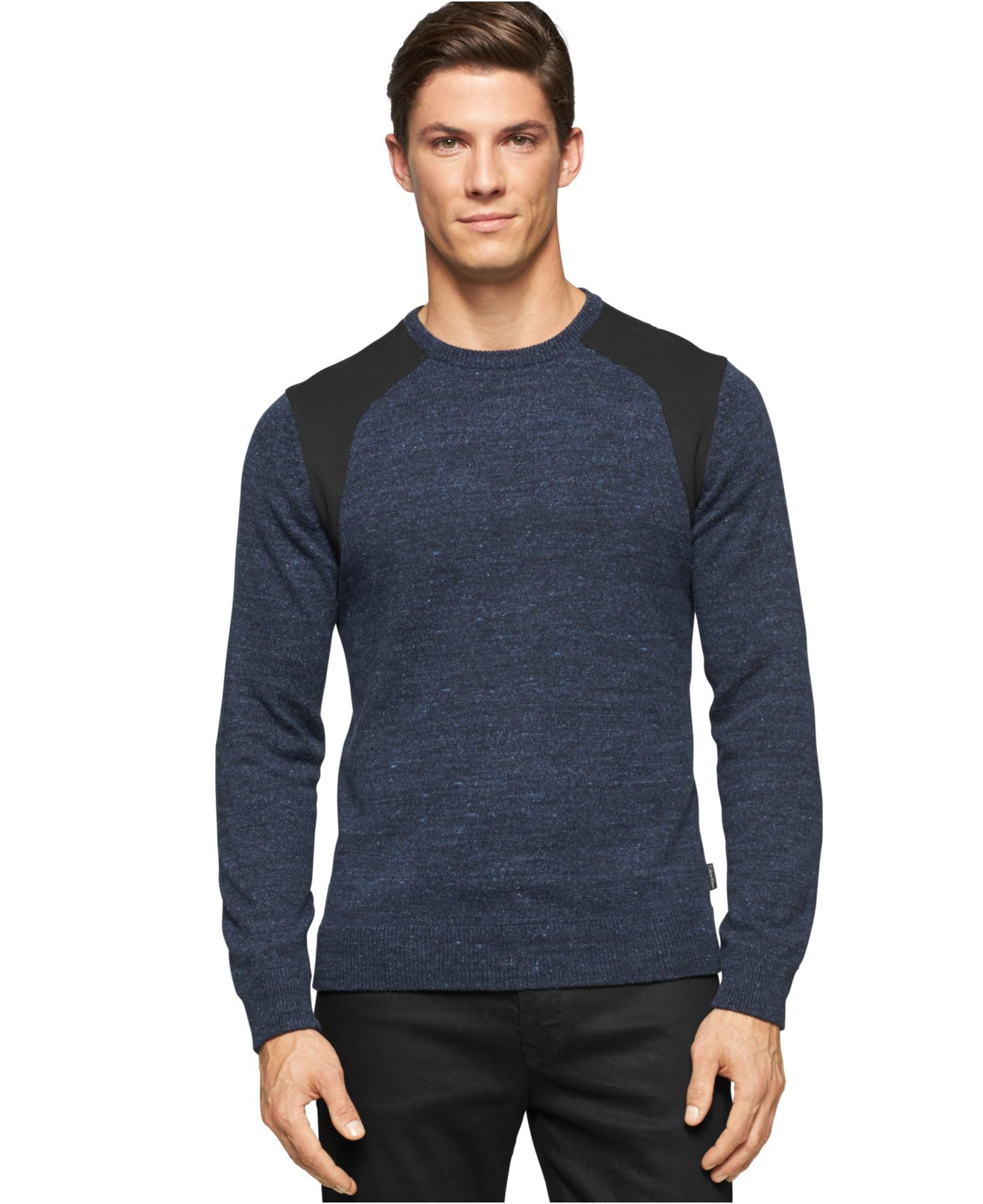 calvin klein heather ponte crew neck pullover in blue for men heather blue lyst. Black Bedroom Furniture Sets. Home Design Ideas