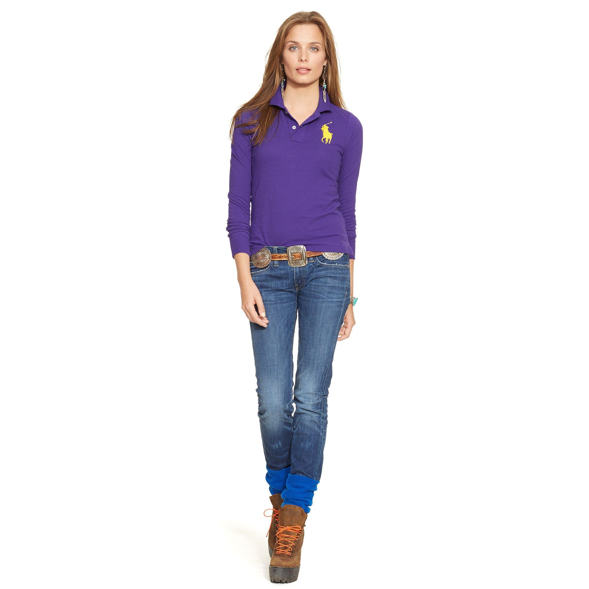 ... Ralph Lauren Women Big Pony Long Sleeved Purple Polo ...