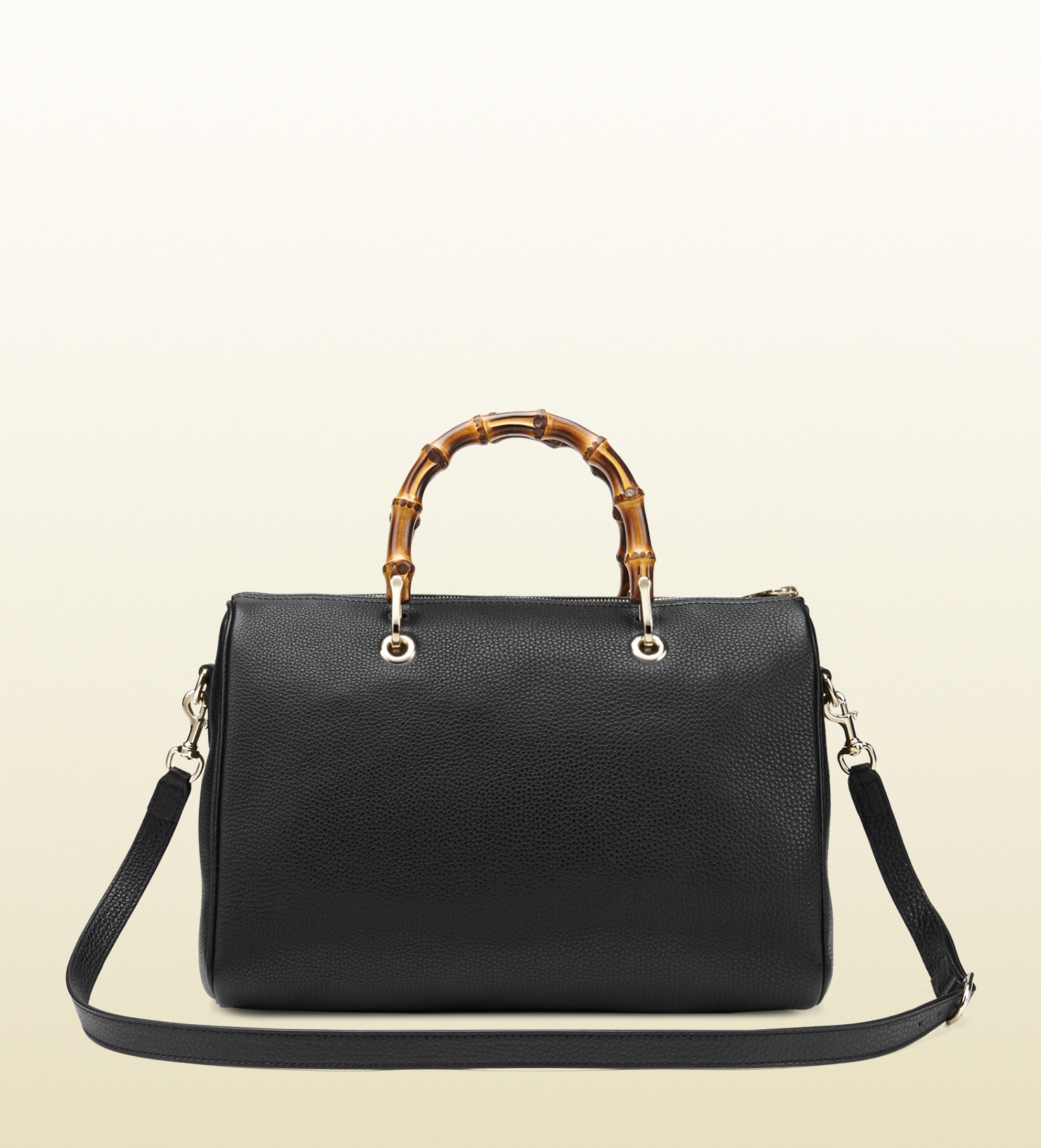 gucci bamboo shopper leather boston bag in black bamboo lyst. Black Bedroom Furniture Sets. Home Design Ideas
