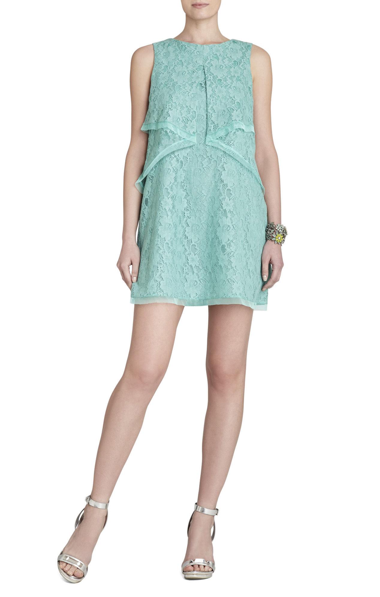 Lyst - Bcbgmaxazria Amelie Draped Sleeveless Lace Dress in Blue