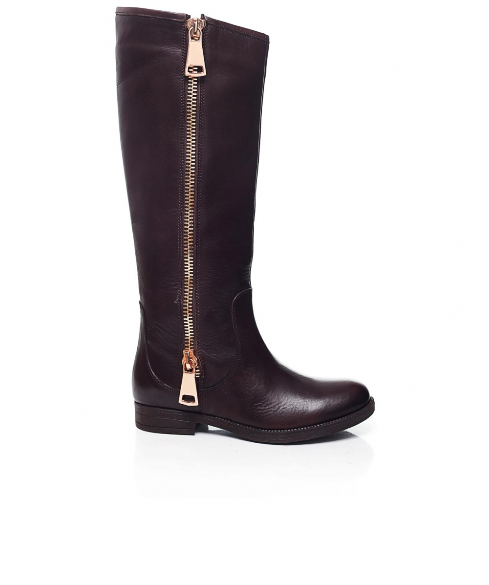 inuovo bosphorus knee length boots in brown lyst