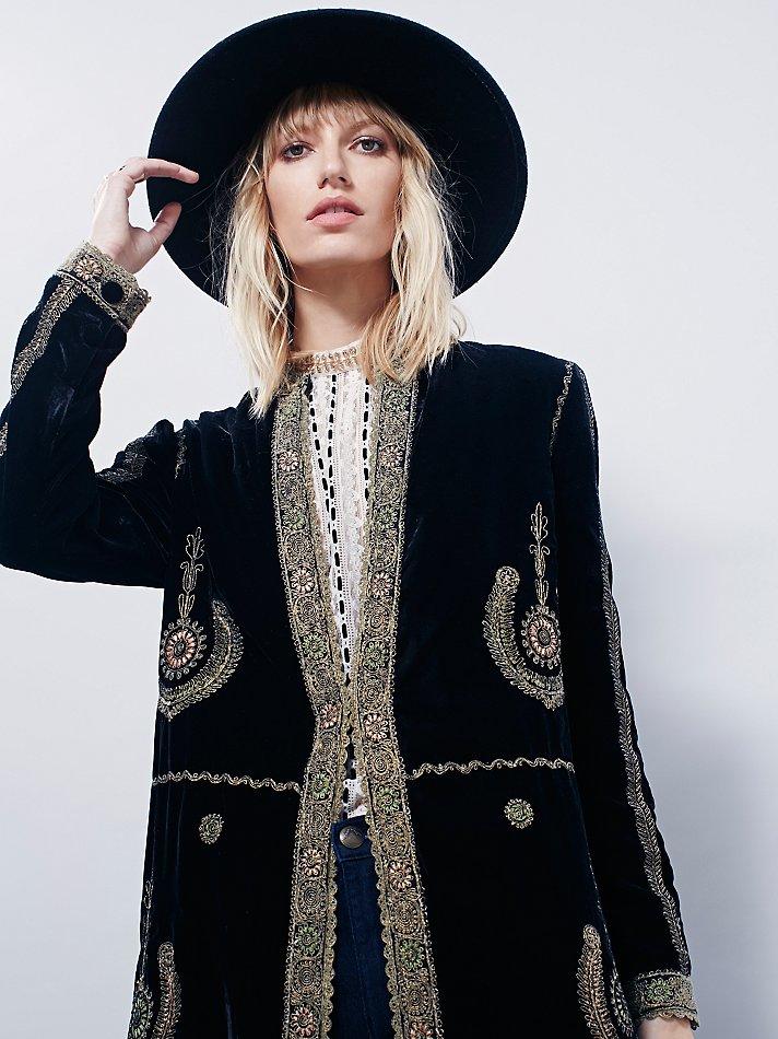 Free People Womens Eternal Tapestry Velvet Maxi Jacket In