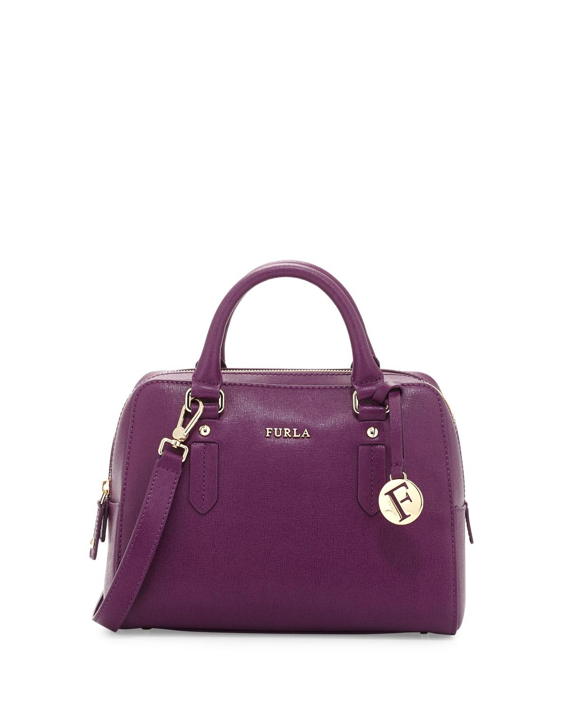 Furla Elena Small Leather Satchel Bag in Purple | Lyst