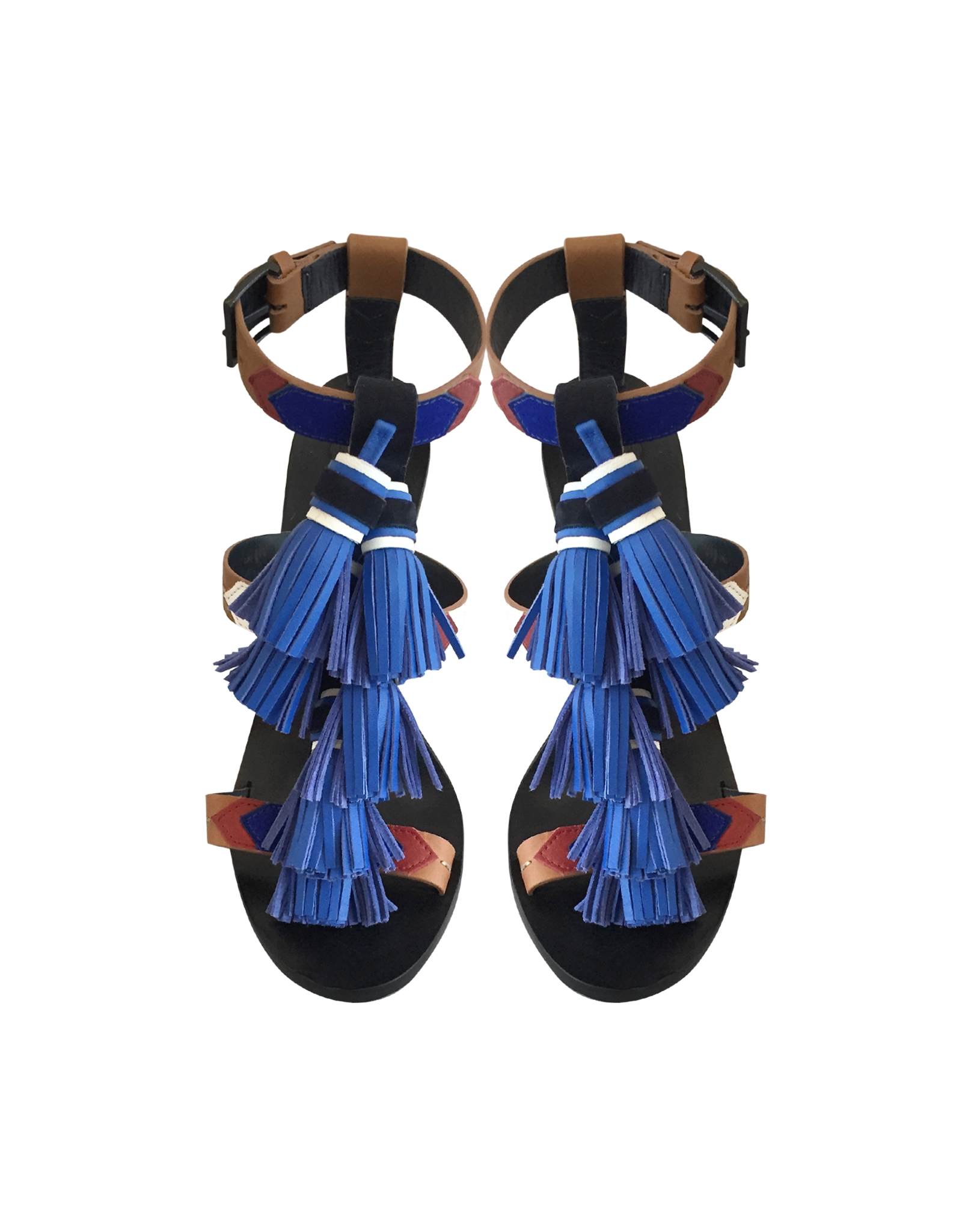 9b8efbf85014 Lyst - Tory Burch Multi Blue Leather Weaver Tassel Sandal