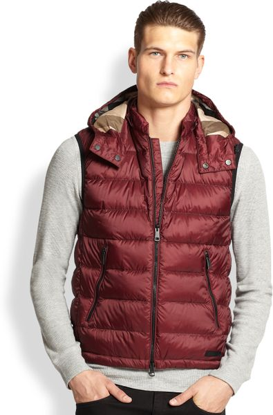 Burberry Brit Hooded Puffer Vest In Red For Men Maroon