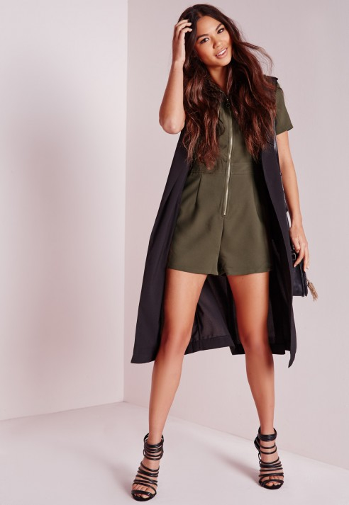 7f5d0b4d06 Missguided Zip Front Collar Playsuit Khaki in Natural - Lyst