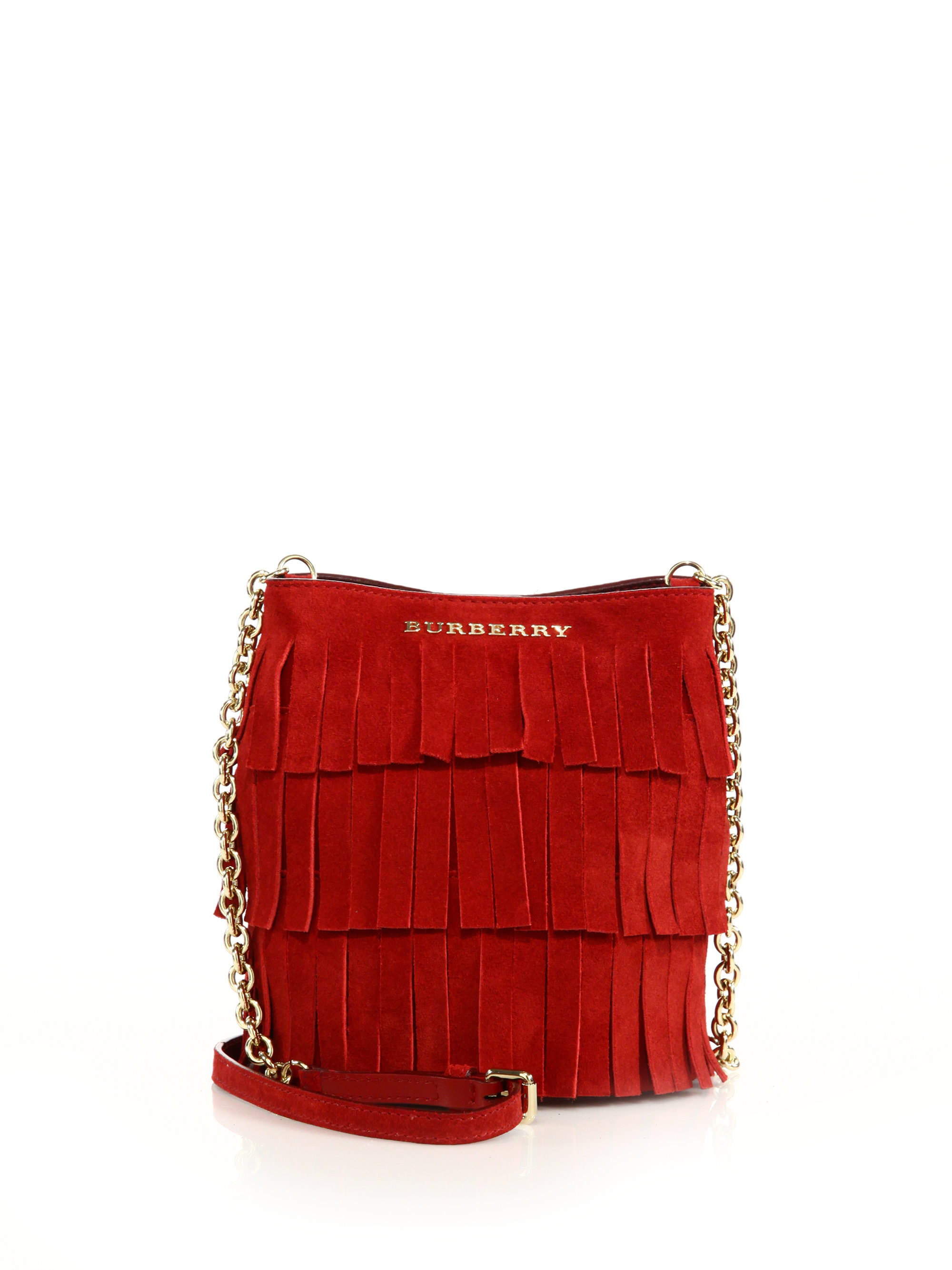 387a8959a53 Burberry Mini Fringed Suede Bucket Bag in Red - Lyst