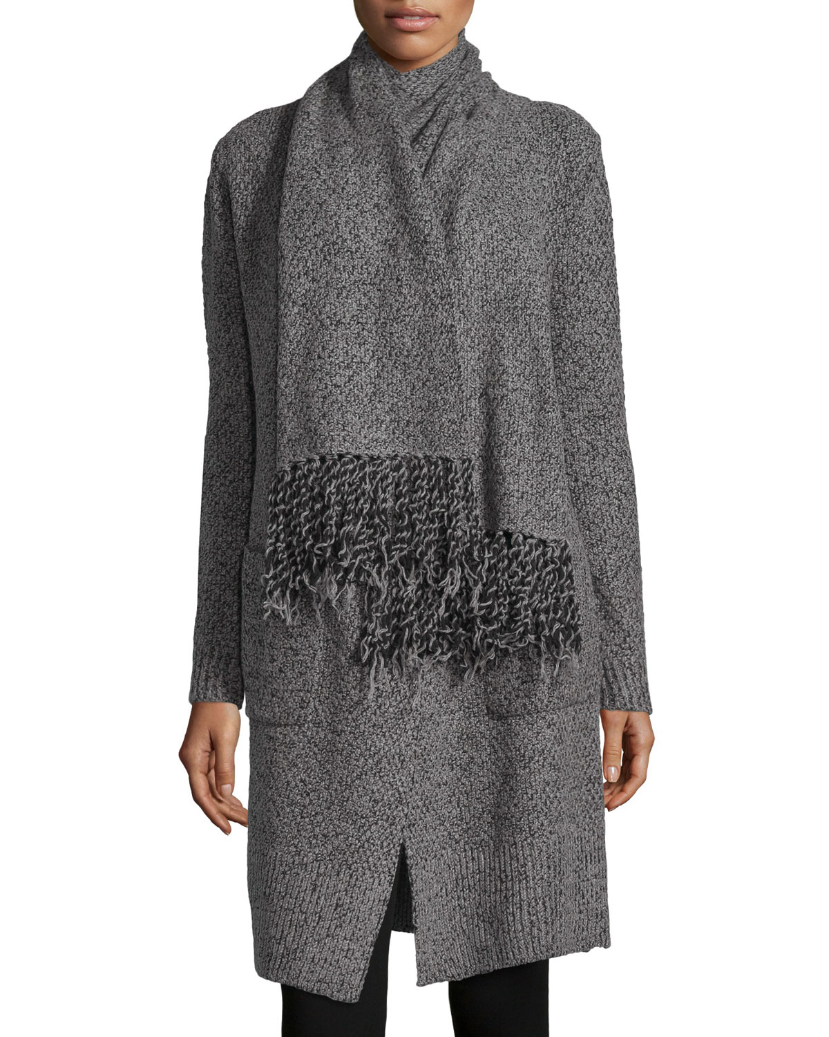 thakoon addition scarf tie knit cardigan in gray lyst