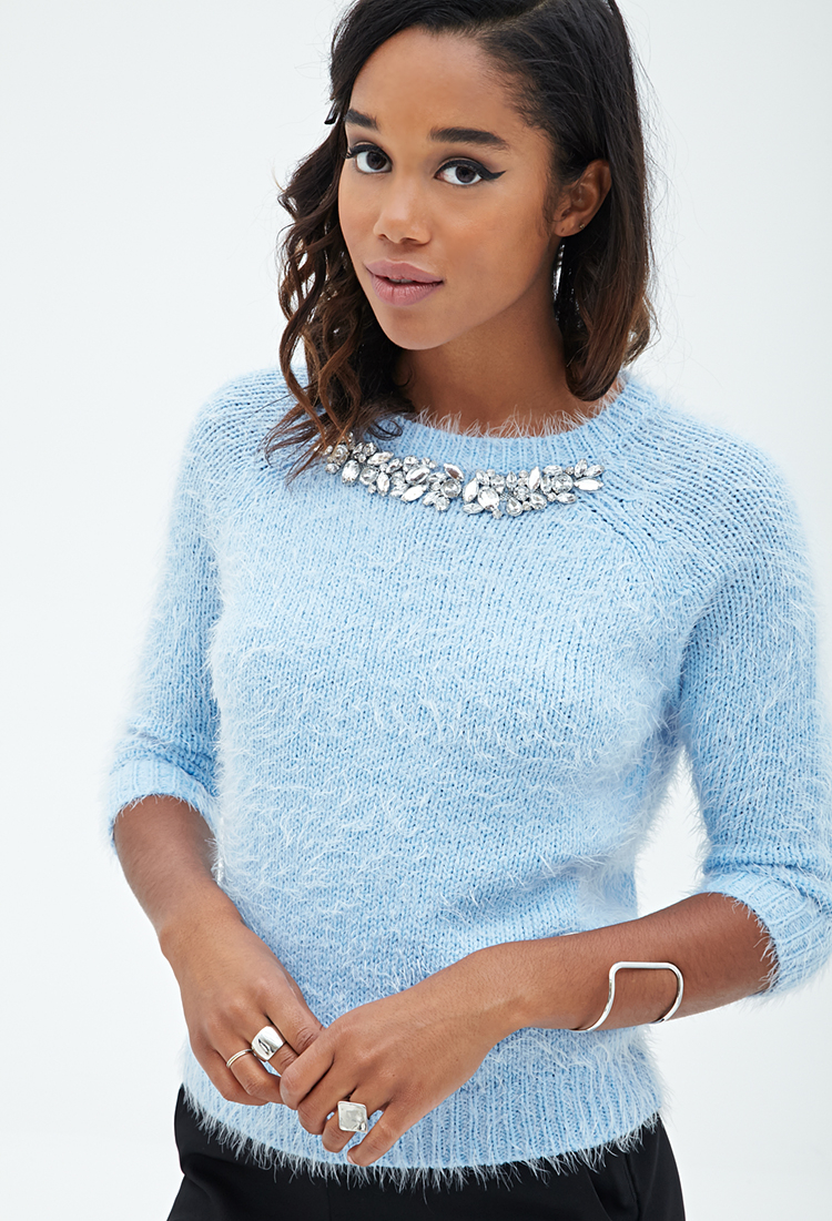 Forever 21 Rhinestone-embellished Fuzzy Sweater in Blue | Lyst