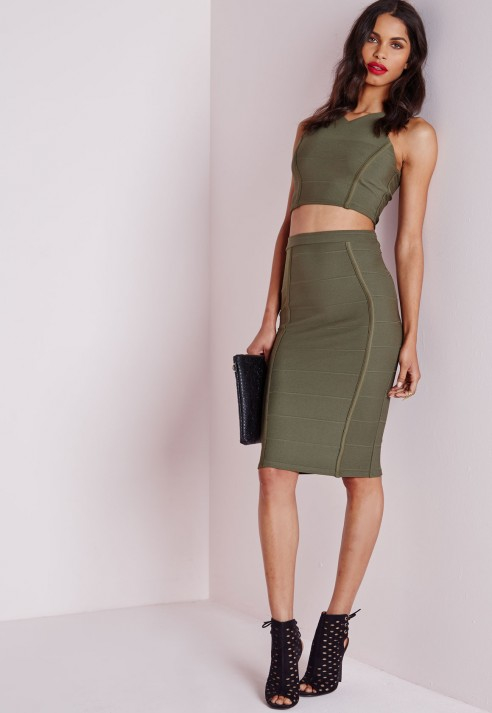 Missguided Bandage Midi Skirt Khaki in Natural | Lyst