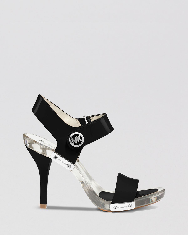 michael michael kors open toe lucite platform sandals lani high heel in black lyst. Black Bedroom Furniture Sets. Home Design Ideas