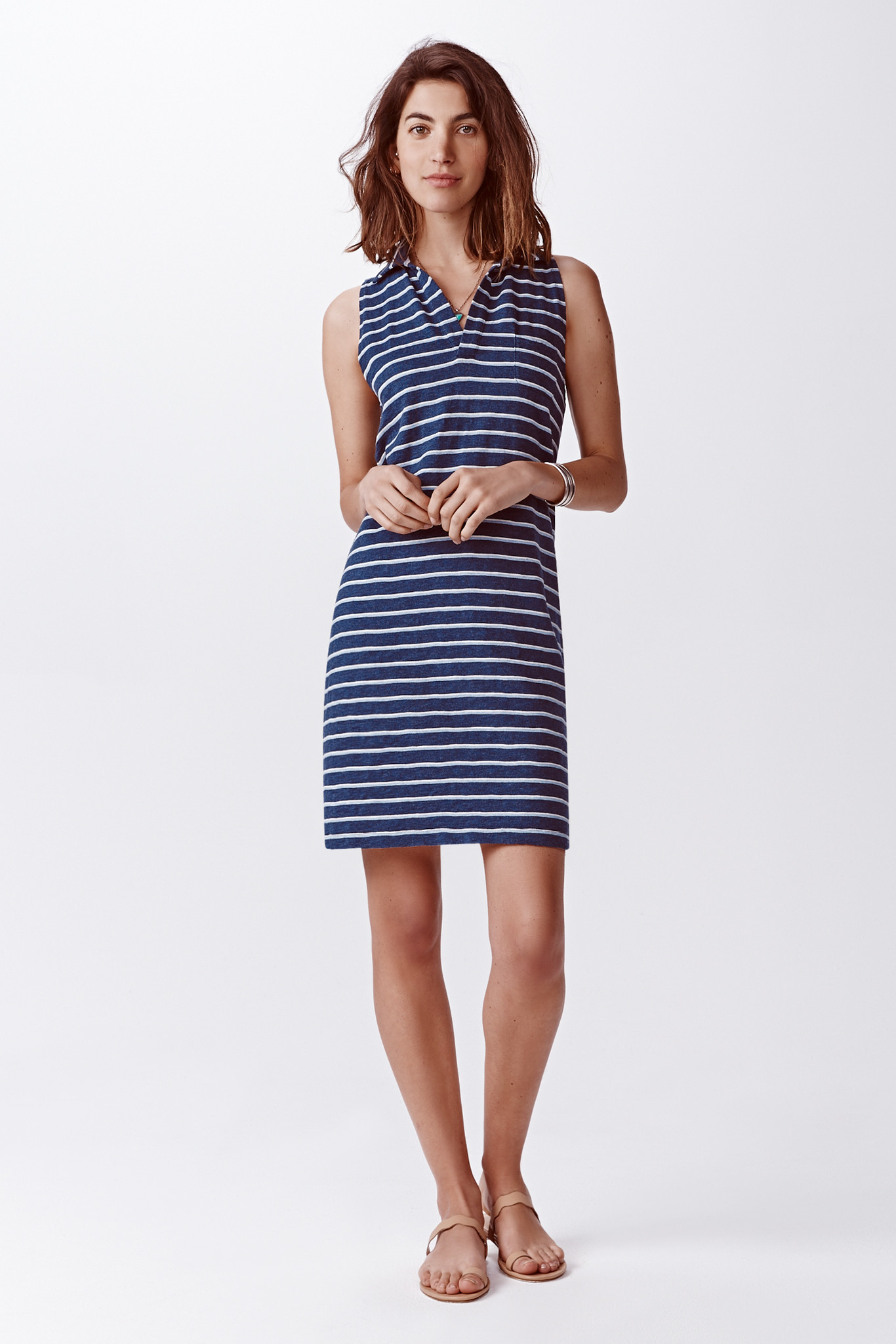 An embroidered signal flag and a bold striped pattern define the nautical inspiration of this striped polo dress. Shown with our Slider-Buckle Webbed Belt, which is sold 24software.ml: $