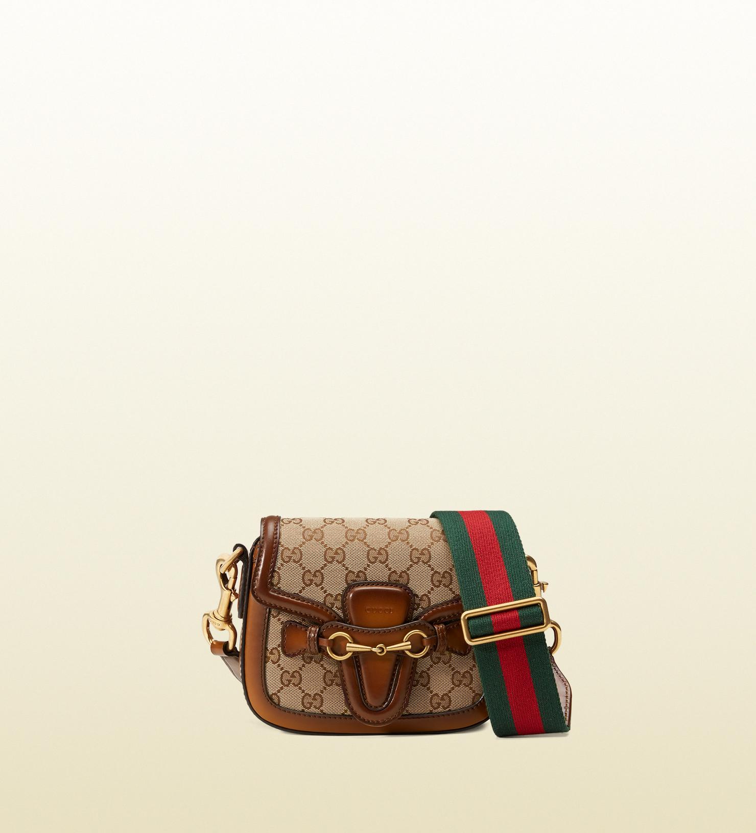 c1378908b0d91b Gucci Lady Web Original Gg Canvas Shoulder Bag in Brown - Lyst