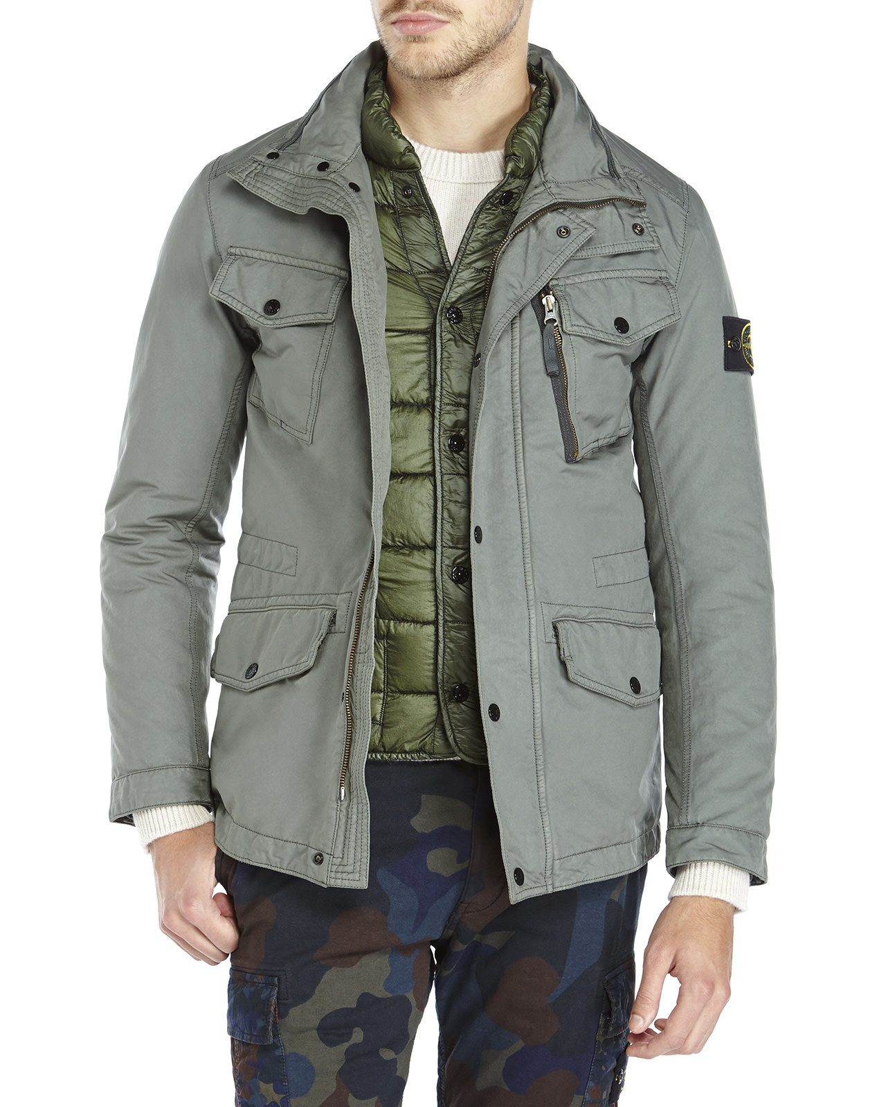 lyst stone island david tc down jacket in green for men. Black Bedroom Furniture Sets. Home Design Ideas