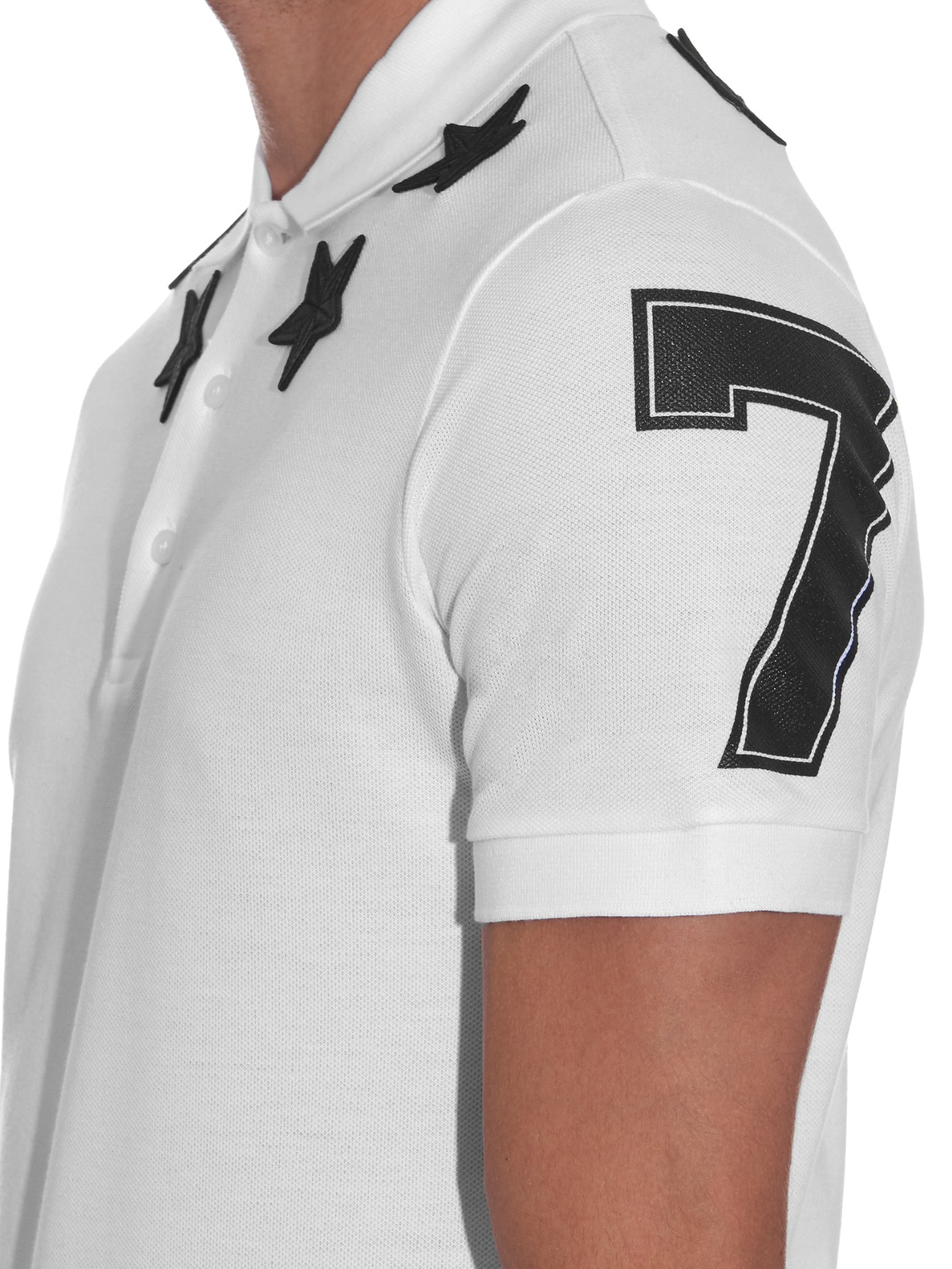 Givenchy cuban fit star patch polo shirt in white for men for Givenchy star t shirt