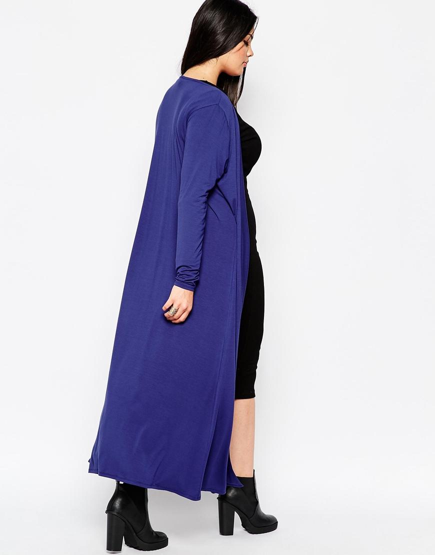 Asos Longline Maxi Cardigan in Blue | Lyst