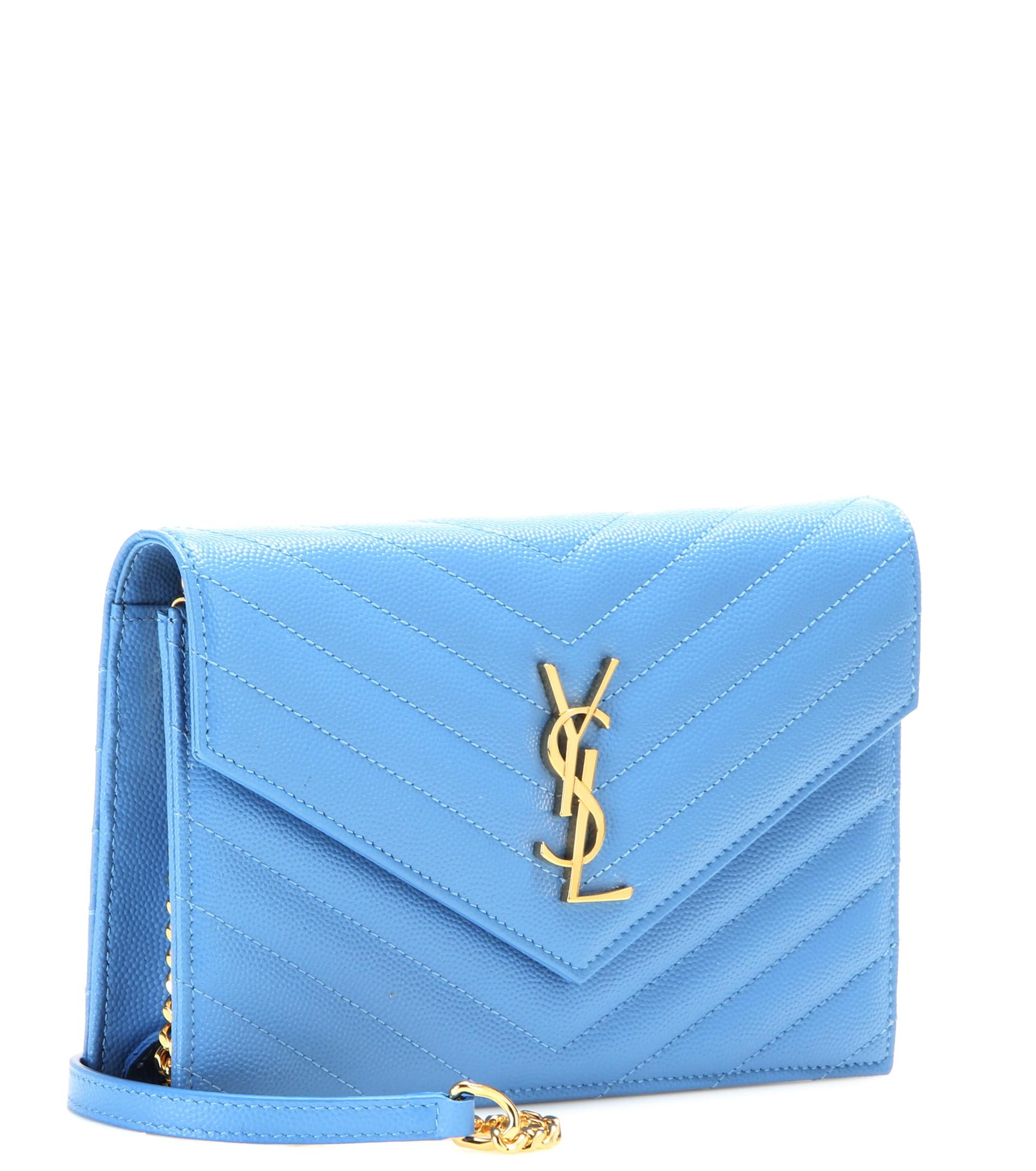 yves saint laurent clutch with chain - saint laurent monogram saint laurent blogger bag in sky blue leather