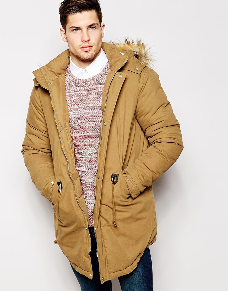 df619f540 ASOS Brown Parka Jacket With Faux Shearling Hood In Beige for men