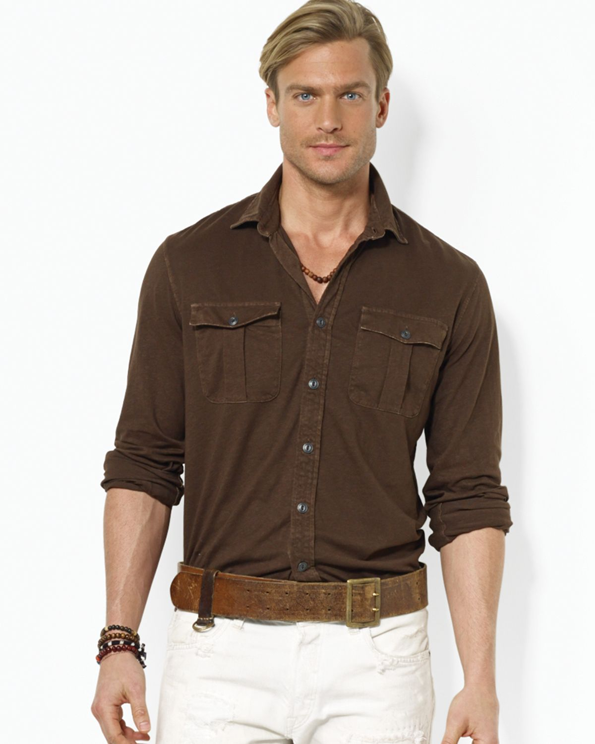 Lyst ralph lauren polo military jersey shirt classic for Black brown mens shirts