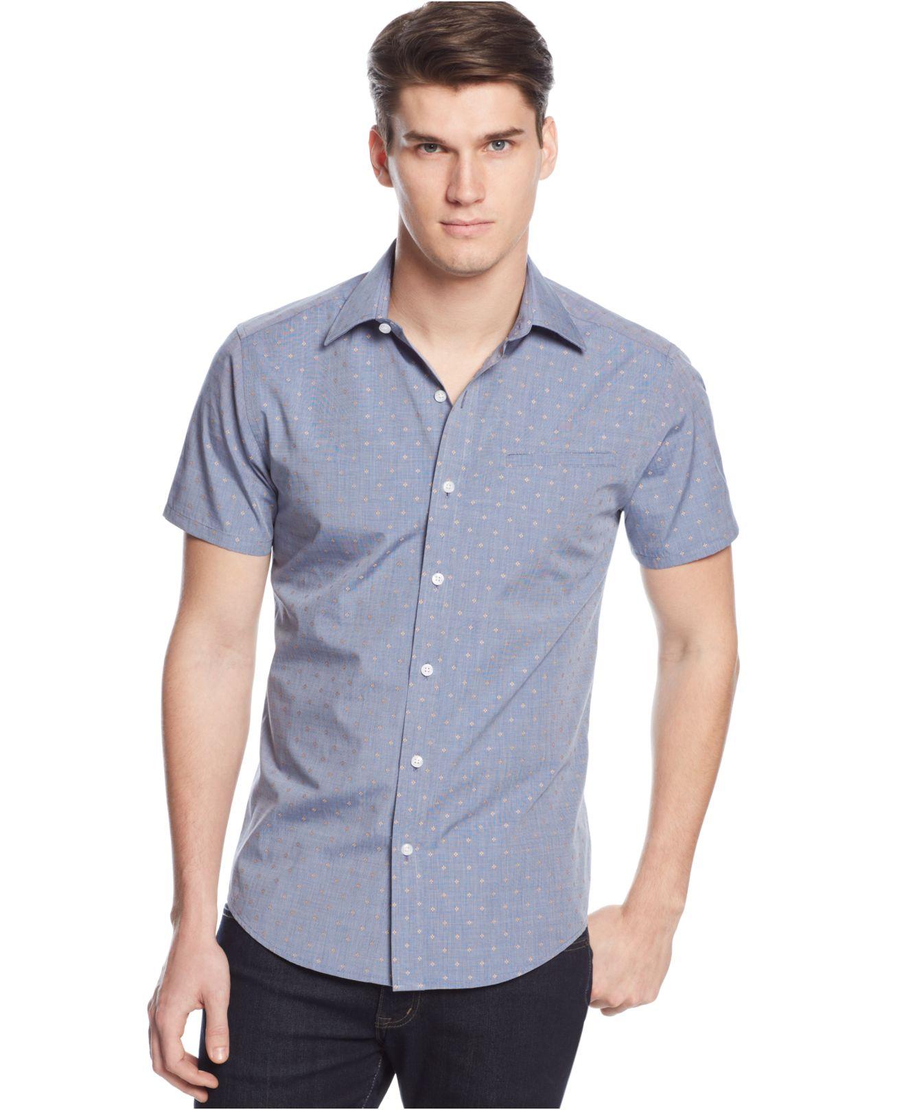 Vince camuto dobby chambray shirt in blue for men for Men s dobby shirt