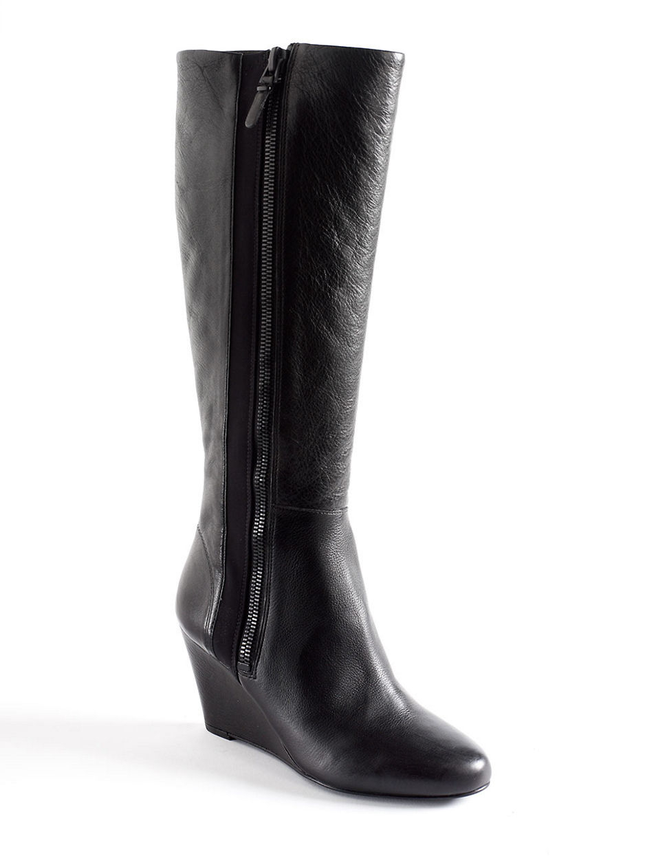 via spiga felipa leather wedge boots in black lyst