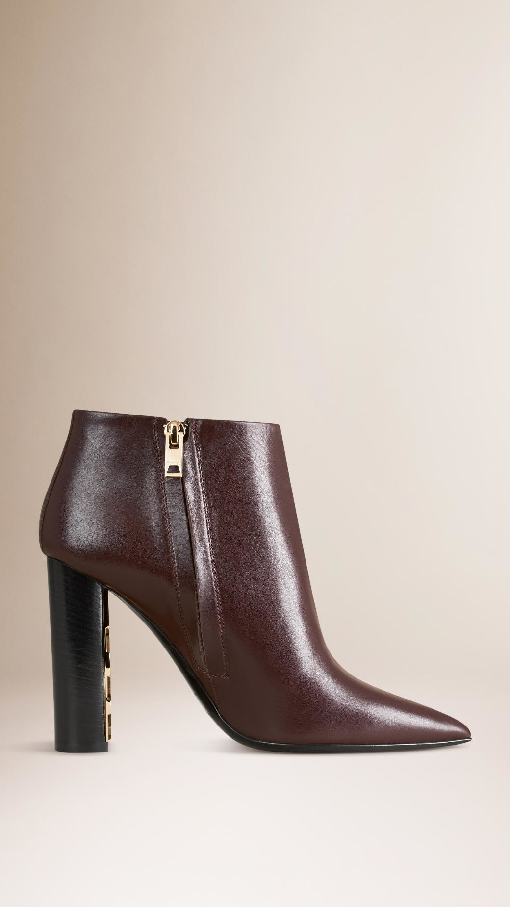 burberry check detail leather ankle boots in brown