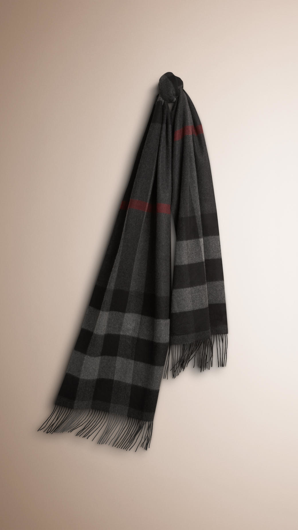 burberry oversize check scarf in black for