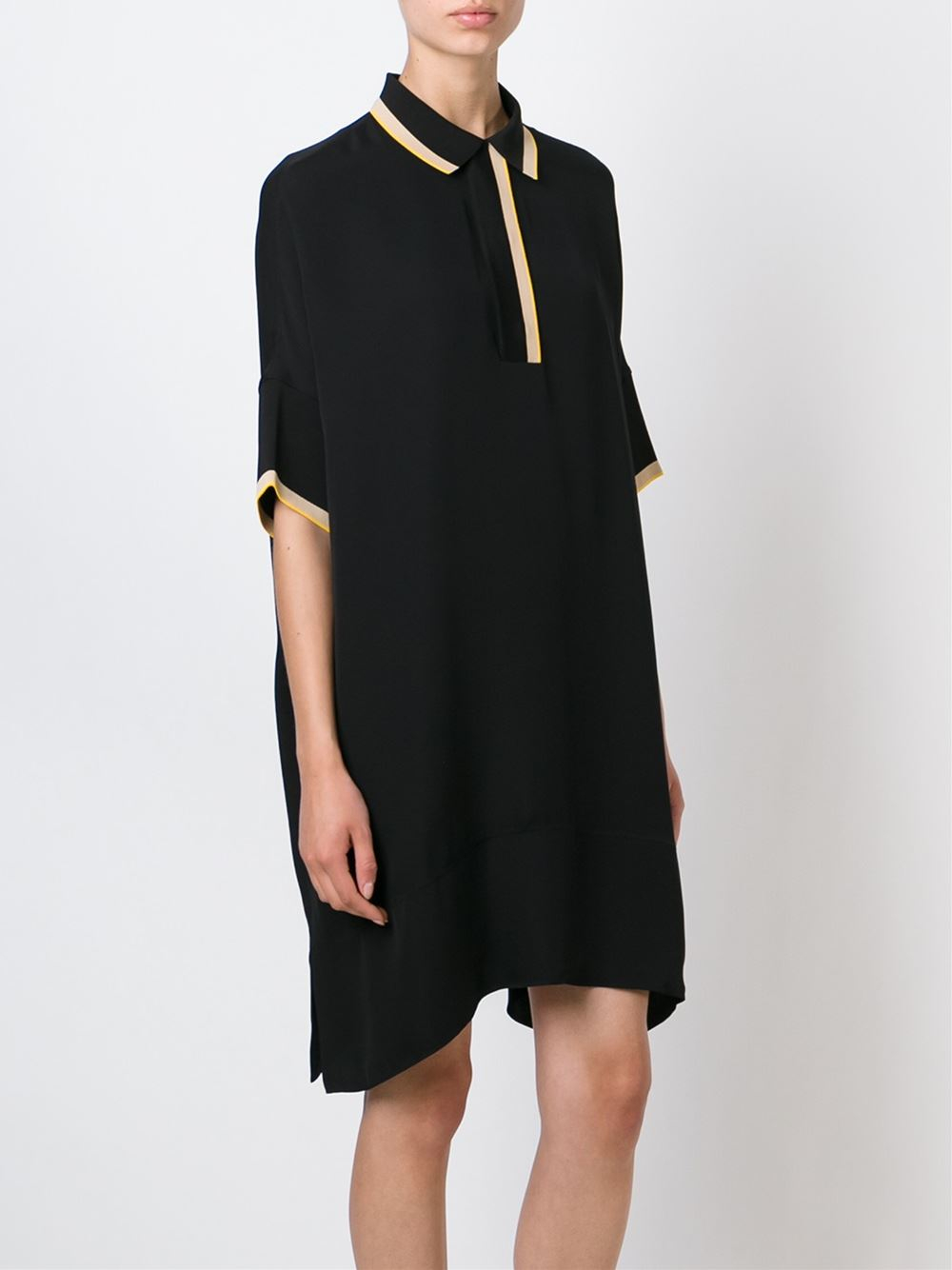 Lyst rag bone loose fit polo shirt dress in black for Black fitted polo shirt