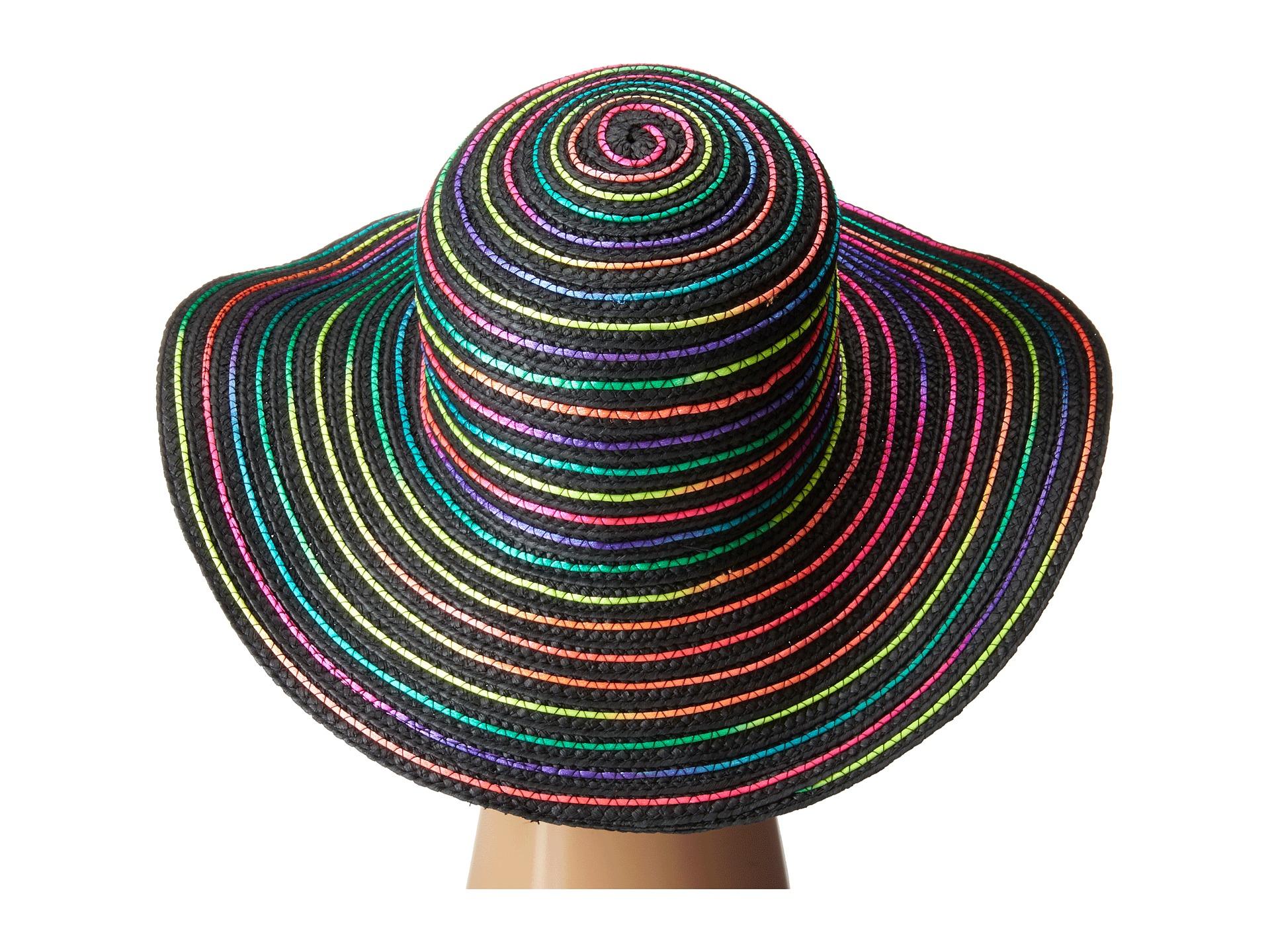 Lyst - Betsey Johnson Rainbow Swirl Floppy Hat in Gray 11c825086a0