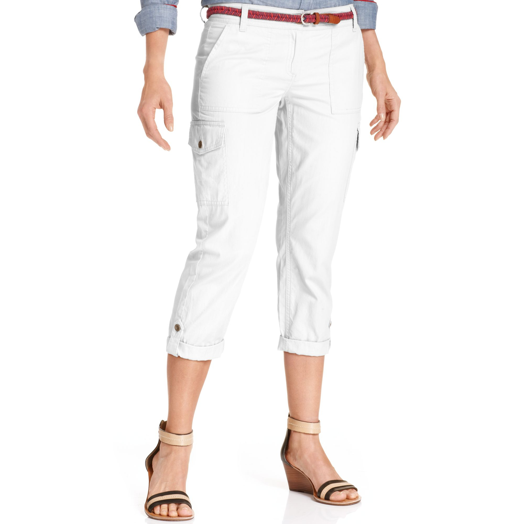 Tommy Hilfiger Cropped Cargo Pants In White Bright White
