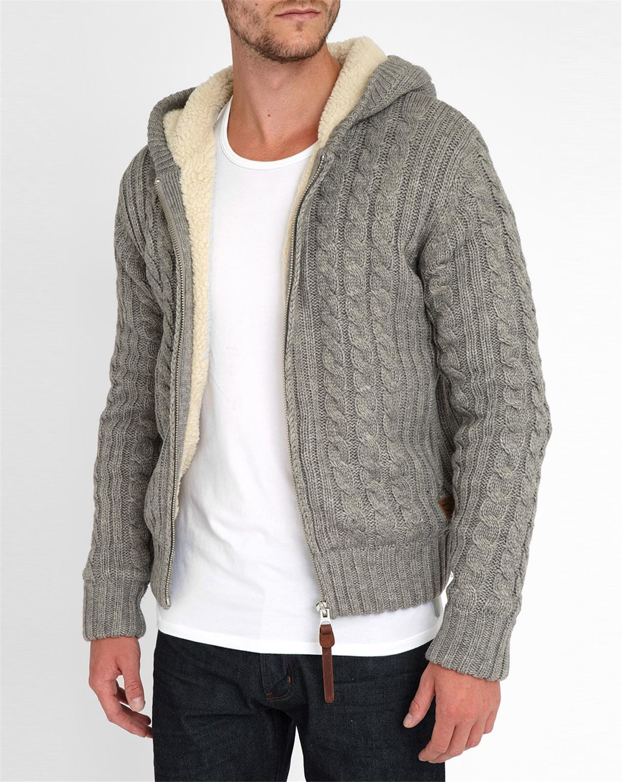 Sherpa Lined Wool Sweater - Cashmere Sweater England