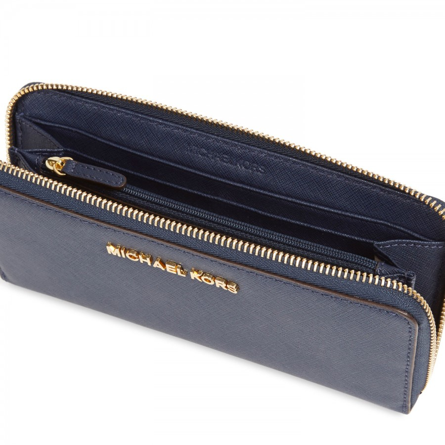 7191a657ff815a ... coupon code michael michael kors jet set saffiano leather wallet in blue  lyst 9aaaa 95564