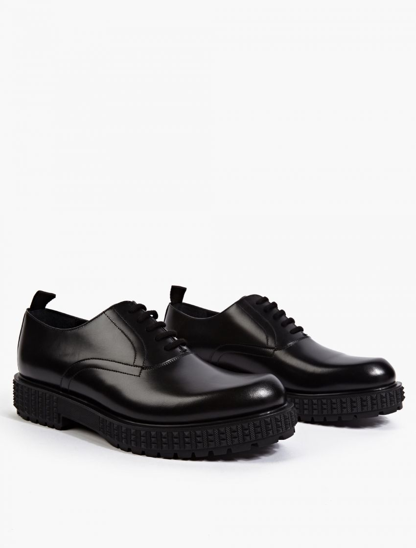 valentino black leather oxford shoes in black for lyst