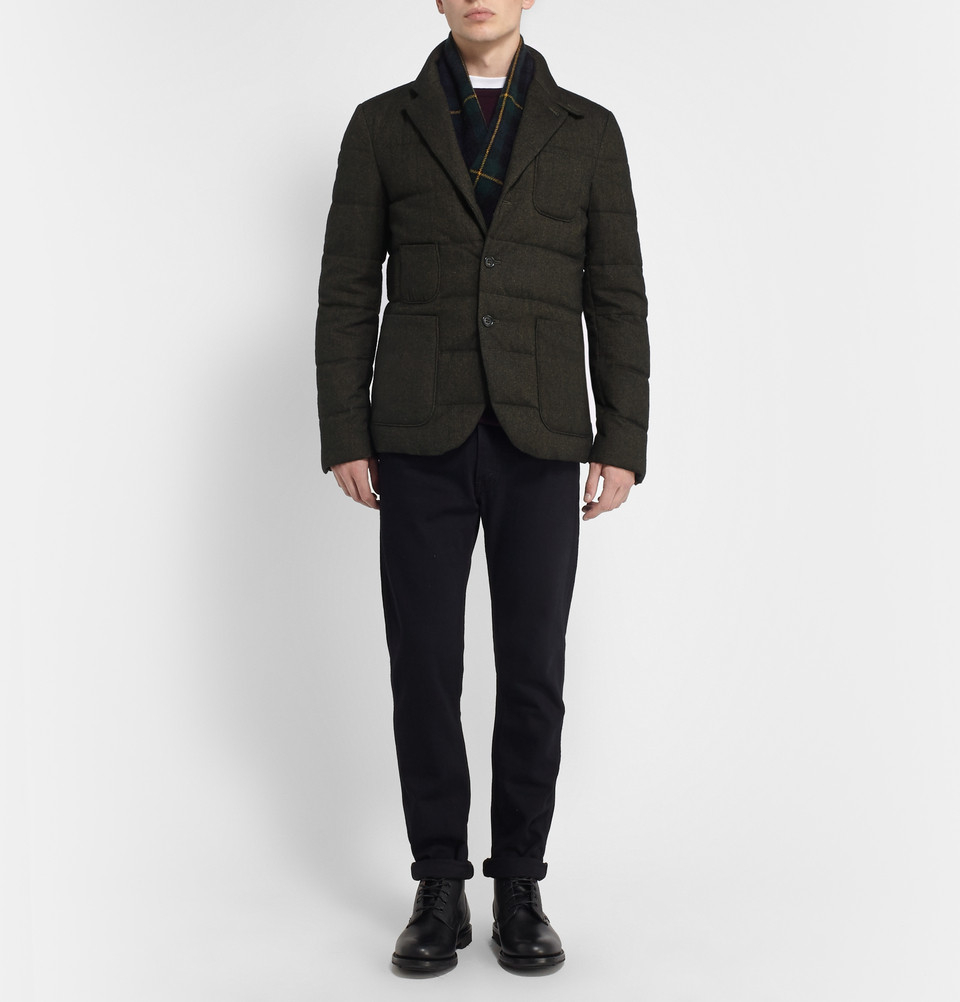 Quilted Blazers: Incotex Montedoro Quilted Down-Filled Blazer In Green For